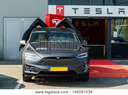 TILGURG, NETHERLANDS - SEPTEMBER 25, 2016: TESLA MODEL X. Tesla Motors SERVICE in Tilburg, Netherlands.