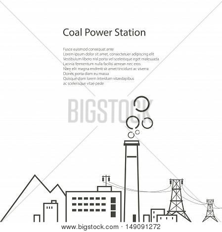 Coal Power Station Isolated on White Background, Complex Industrial Facilities with the Power Line, Energy Industry, Poster Brochure Flyer Design, Vector Illustration