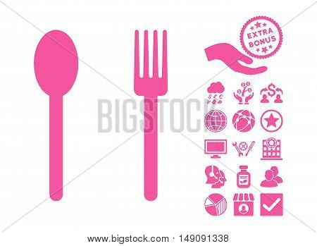 Fork and Spoon pictograph with bonus pictograph collection. Vector illustration style is flat iconic symbols pink color white background.