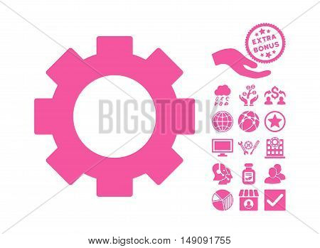 Gear icon with bonus elements. Vector illustration style is flat iconic symbols pink color white background.