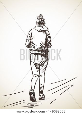 Sketch of walking woman in tight jeans Hand drawn illustration