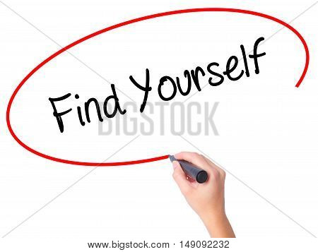 Women Hand Writing Find Yourself With Black Marker On Visual Screen