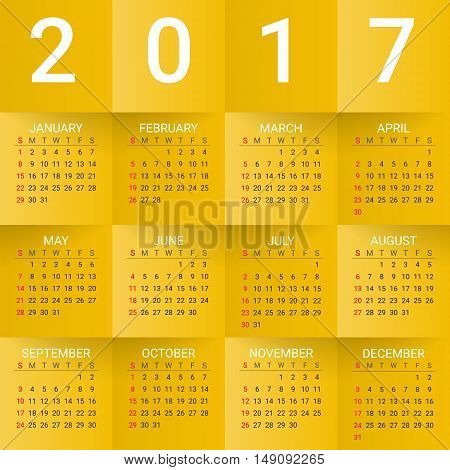 Calendar for 2017 Year on Yellow Background. Week starts from sunday. Modern Creative Vector Design Print Template. Holiday vector illustration. Paper layers. Corporate business layout.