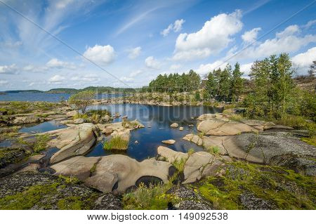 Beautiful rocky shores of Ladoga lake islands, Karelia republic, Russia.