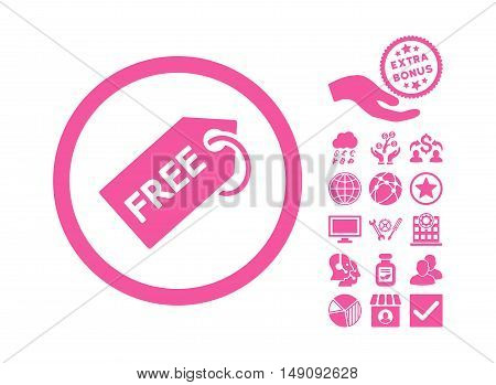 Free Tag pictograph with bonus symbols. Vector illustration style is flat iconic symbols pink color white background.
