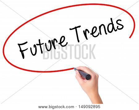 Women Hand Writing Future Trends With Black Marker On Visual Screen