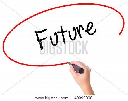 Women Hand Writing Future  With Black Marker On Visual Screen