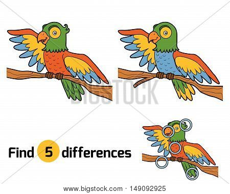 Find differences, education game for children, parrot