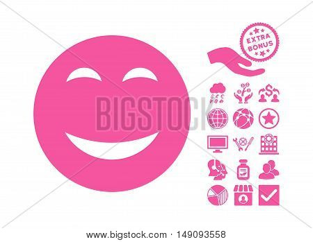 Happy icon with bonus pictograph collection. Vector illustration style is flat iconic symbols pink color white background.