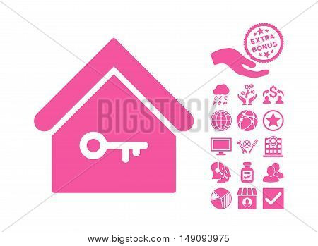 Home Key pictograph with bonus clip art. Vector illustration style is flat iconic symbols pink color white background.