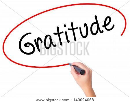 Women Hand Writing Gratitude With Black Marker On Visual Screen