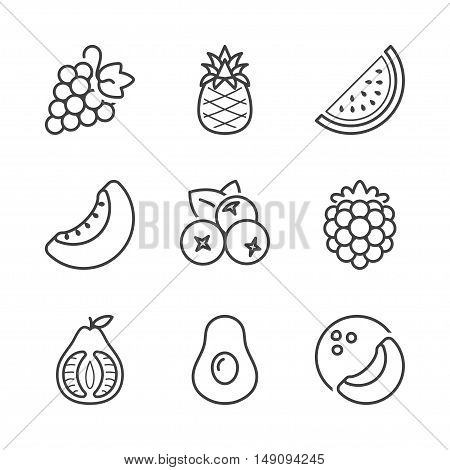 basic fruits thin line icons set. isolated. black color