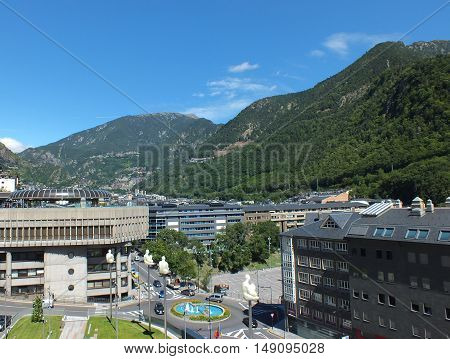 The Principality of Andorra  and the eastern Pyrenees mountains in Southwestern Europe