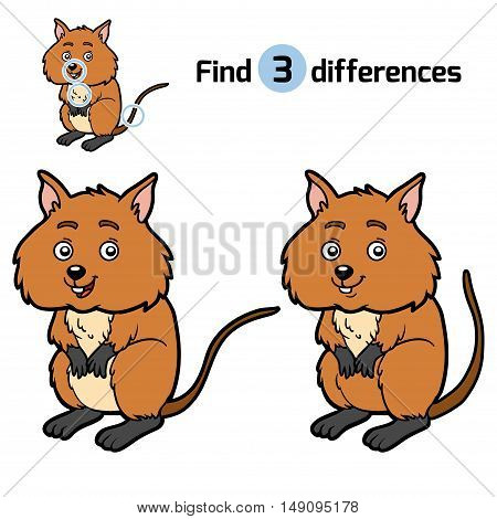 Find differences, education game for children, Quokka
