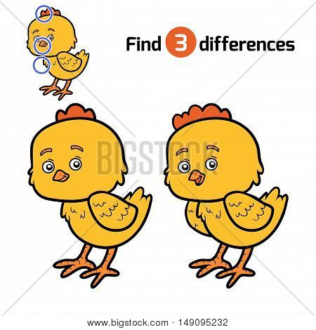 Find differences, education game for children, Chick