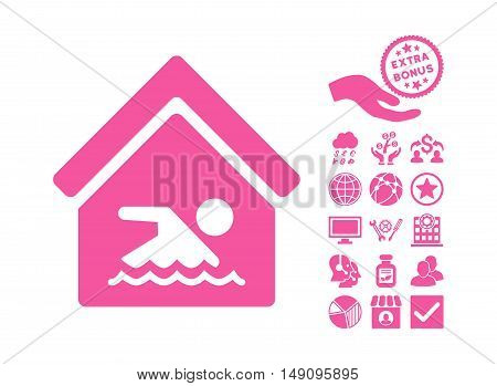 Indoor Water Pool icon with bonus pictures. Vector illustration style is flat iconic symbols pink color white background.
