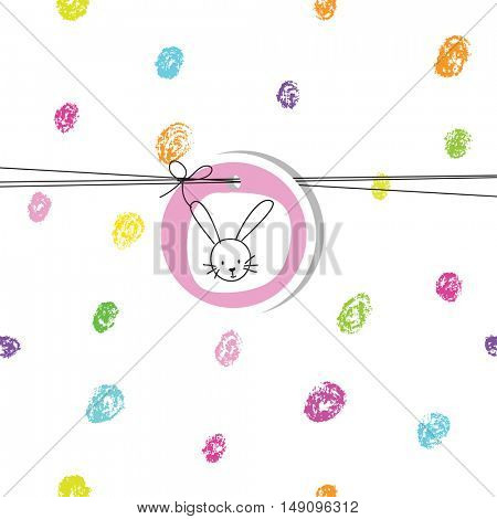 Baby shower invitation with bunny.  Hand drawn colorful dots. Design element.