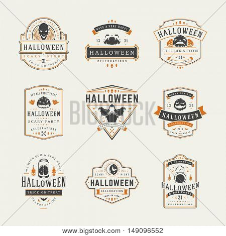 Halloween Celebration labels and badges design set vector illustration. Typographic Decorations good for greeting card, poster or flyer. EPS 10.
