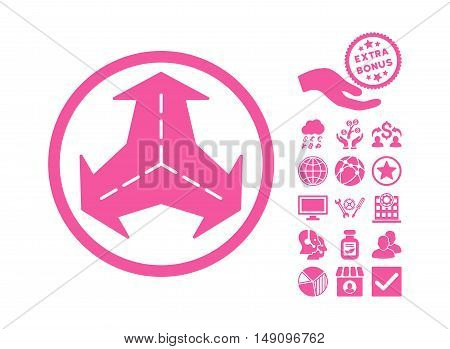 Intersection Directions icon with bonus images. Vector illustration style is flat iconic symbols pink color white background.