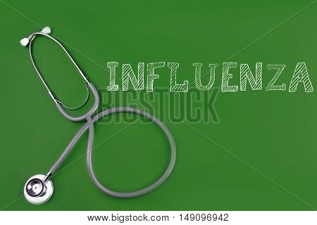 influenza disease word with stethoscope isolated on green background