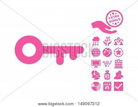 Key icon with bonus symbols. Vector illustration style is flat iconic symbols pink color white background.