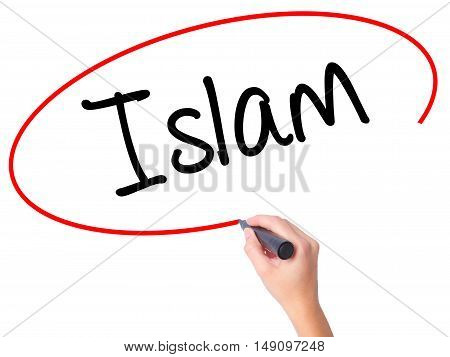 Women Hand Writing Islam With Black Marker On Visual Screen
