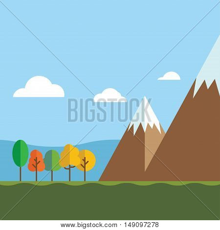 mountain landscape vector illustration. Travel blue sky cloud beautiful mountain landscape. mountain landscape travel outdoor.