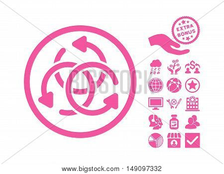 Knot Rotation pictograph with bonus design elements. Vector illustration style is flat iconic symbols pink color white background.