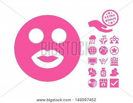 Lady Smile icon with bonus images. Vector illustration style is flat iconic symbols pink color white background.