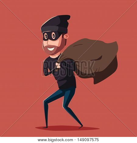 Cute thief character. Vector cartoon illustration. Bandit with bag. Funny person. Happy hacker. Robber in mask