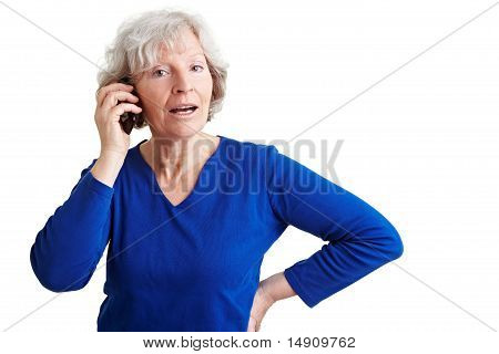 Old Woman Talking In Mobile Phone