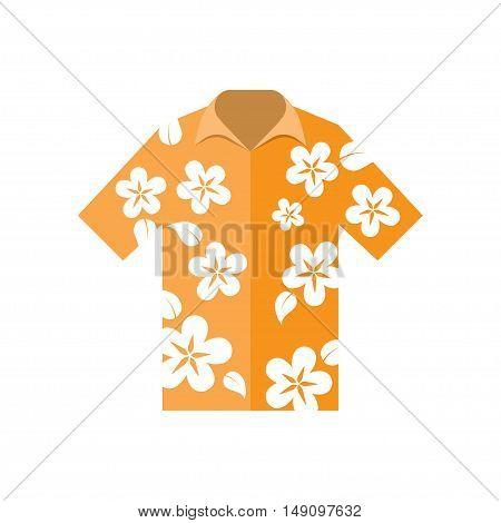 shirt hawaiian flowers vector illustration on a white background
