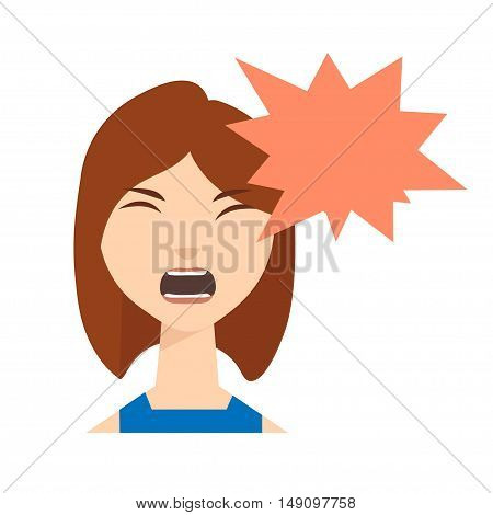 Angry Woman Skream with Speech Bubble. Vector illustration