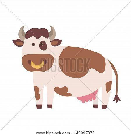 Cute Cow. Flat Design Style. Vector illustration