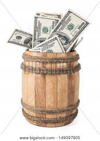 Small Wooden barrel with hundred dollar bills