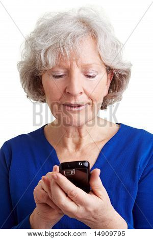 Senior Woman Using Internet With Mobile Phone