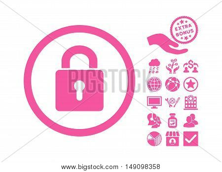 Lock Keyhole icon with bonus design elements. Vector illustration style is flat iconic symbols pink color white background.