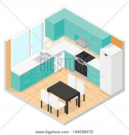 Kitchen Isometric Interior with Furniture. Vector illustration