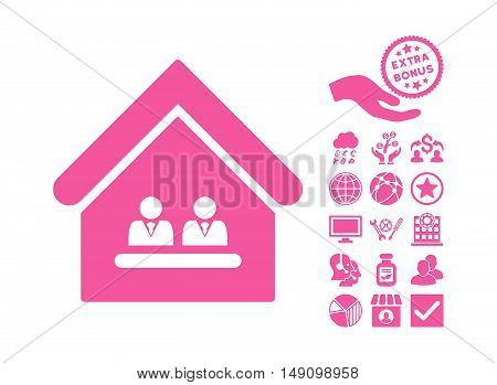 Management Office pictograph with bonus elements. Vector illustration style is flat iconic symbols pink color white background.