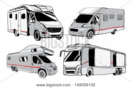 cars Recreational Vehicles Camper Vans Caravans Icons. Vector illustration. Motorhome on white background