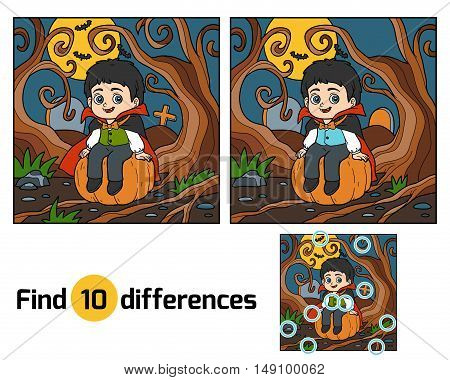 Find differences, education game for children, Vampire