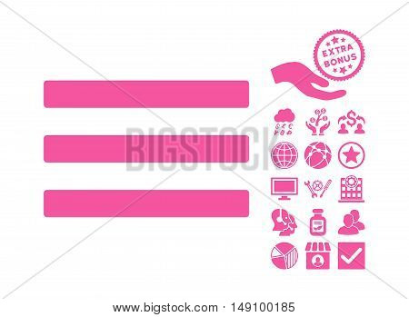 Menu icon with bonus images. Vector illustration style is flat iconic symbols pink color white background.