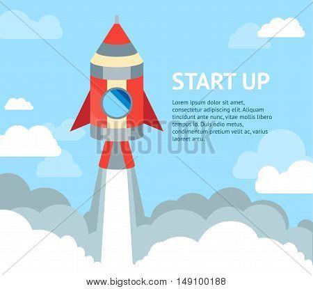 Rocket Ship Flying in Sky. Concept Of A Start Up. Flat Design. Vector illustration