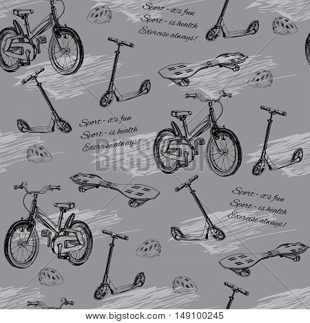 Vector illustration of seamless pattern of hand drawn baby bike, skateboard, Kick scooter, wave board and helmet. Template for wrapping paper.