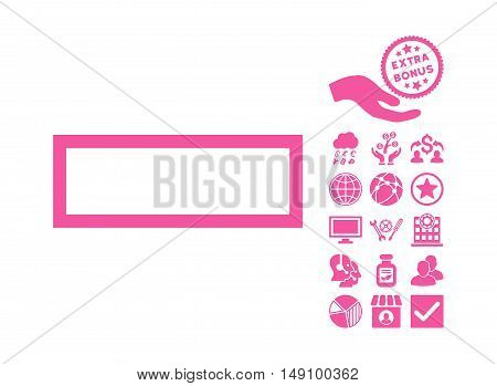 Minus pictograph with bonus images. Vector illustration style is flat iconic symbols pink color white background.