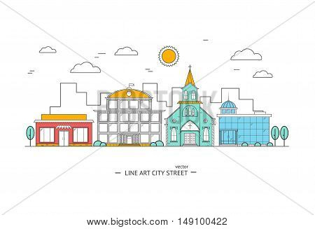 Design of Urban Landscape. Thin Line Street. Vector illustration