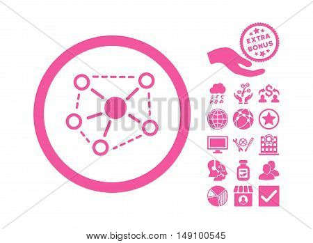 Molecule Links icon with bonus pictogram. Vector illustration style is flat iconic symbols pink color white background.