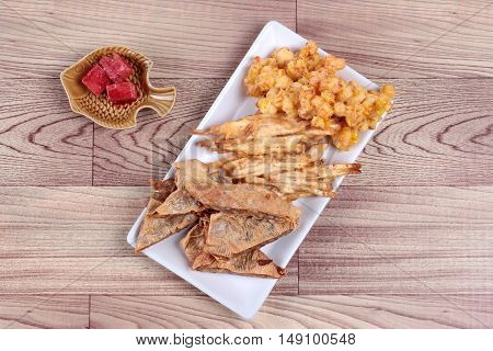 Deep fried mixed vegetable  as stir taro in tofu sheet,sliced taro and sweet corn fried are food for Vegetable festival of Chinese as