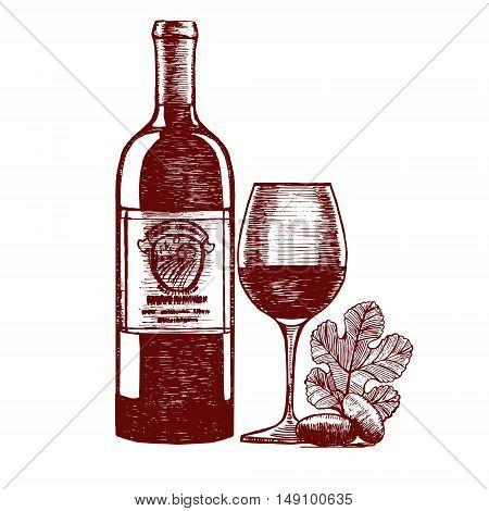 Wine Hand Draw Sketch. Menu Design. Vector illustration