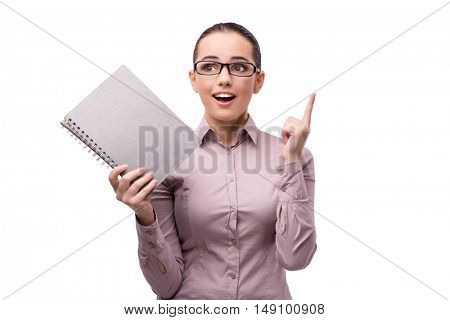 Woman with bright idea isolated on white